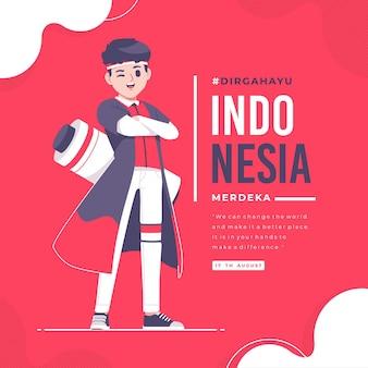 手描きのインドネシア独立記念日バナーテンプレート