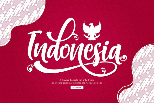 Hand drawn indonesia lettering batik
