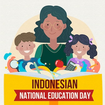 Hand drawn indonesian national education day illustration