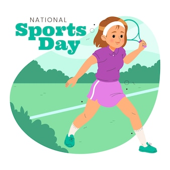 손으로 그린 인도네시아 국가 스포츠의 날 그림