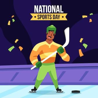 Illustrazione disegnata a mano della giornata sportiva nazionale indonesiana