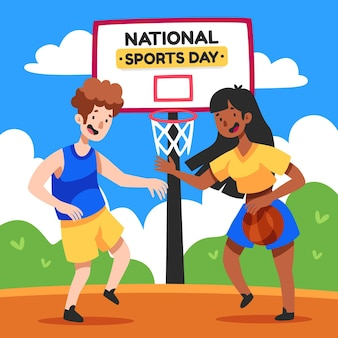 Hand drawn indonesian national sports day illustration
