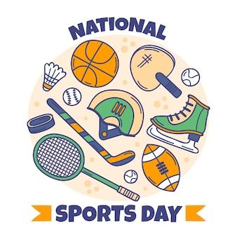 手描きのインドネシア国民体育の日のイラスト