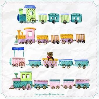 Raccolta di treni infantili disegnati a mano