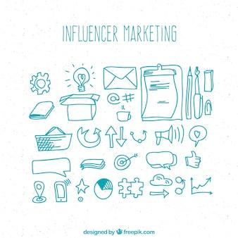 Hand drawn influence marketing design
