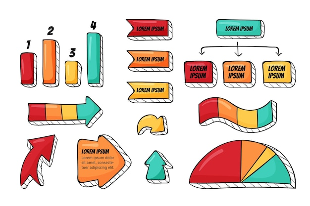 手描きのインフォ グラフィック要素のコレクション