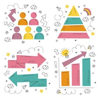 Collezione di adesivi di elementi infografici disegnati a mano