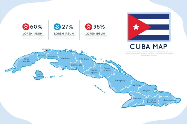 Hand drawn infographic map of cuba