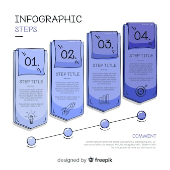 Hand drawn infographic steps concept