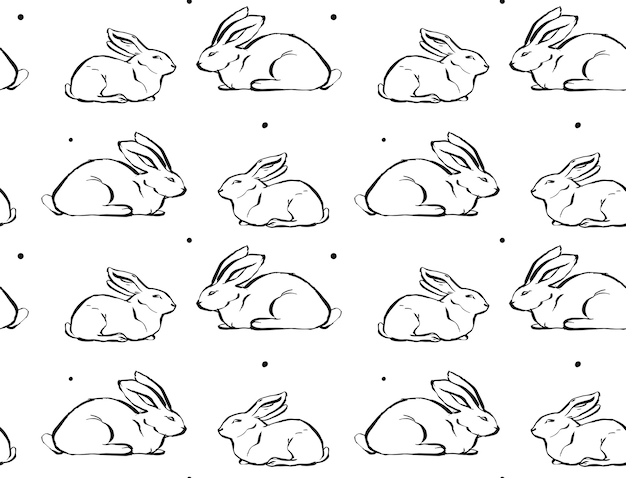 Hand drawn ink brush drawing illustration seamless pattern with bunny