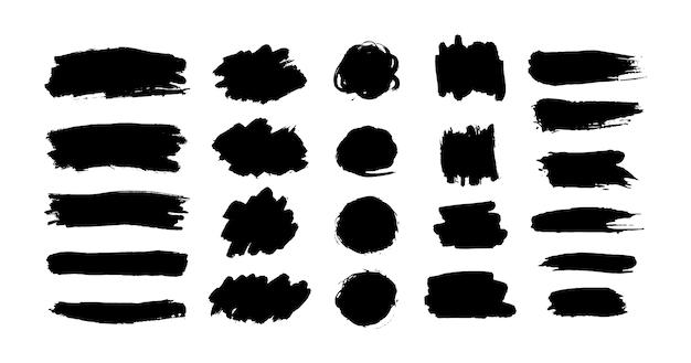 手描きのインクブラシストローク、ブラックペイントスポットセット。汚れたペンキの塊と芸術的な描き方。グランジテクスチャの落書き、汚れの形とシルエット