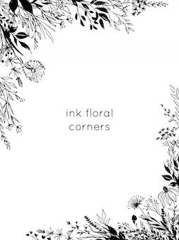손으로 그린 잉크 꽃 모서리. 라인 아트 꽃과 잎
