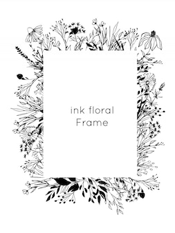 Hand drawn ink floral frame. sketch flowers and leaves