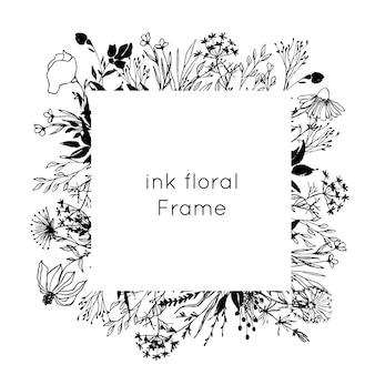 Hand drawn ink floral frame.