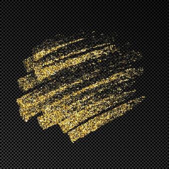 골드 반짝이에 손으로 그린 잉크 반점. 어두운 투명한 배경에 반짝거리는 금색 잉크 반점이 있습니다. 벡터 일러스트 레이 션