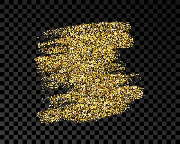 Рисованное пятно чернил в золотом блеске. пятно золотых чернил с блестками, изолированные на темном прозрачном фоне. векторная иллюстрация