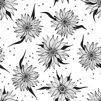 Hand drawn ink sunflower seamless pattern. black and white flowers vector illustration