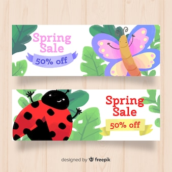 Hand drawn insect spring sale banner
