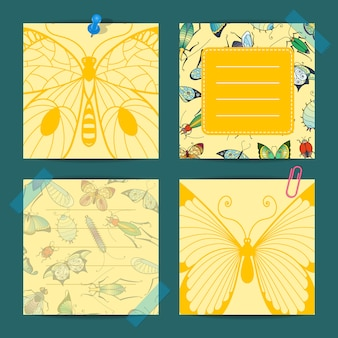 Hand drawn insects cute notes isolated