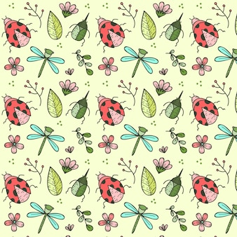 Hand drawn insects and flowers pattern