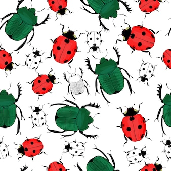 Hand drawn insects seamless pattern with colorful and monochrome beetles and ladybirds on white
