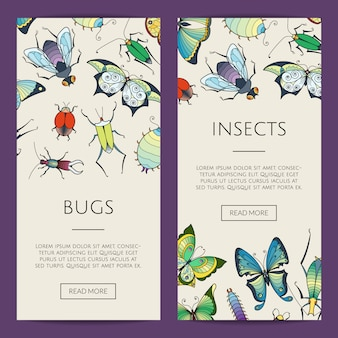 Hand drawn insects web banner illustration