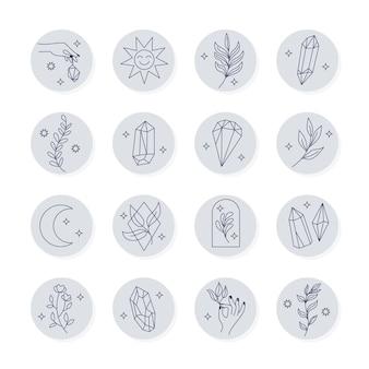 Collezione di highlight di instagram disegnati a mano