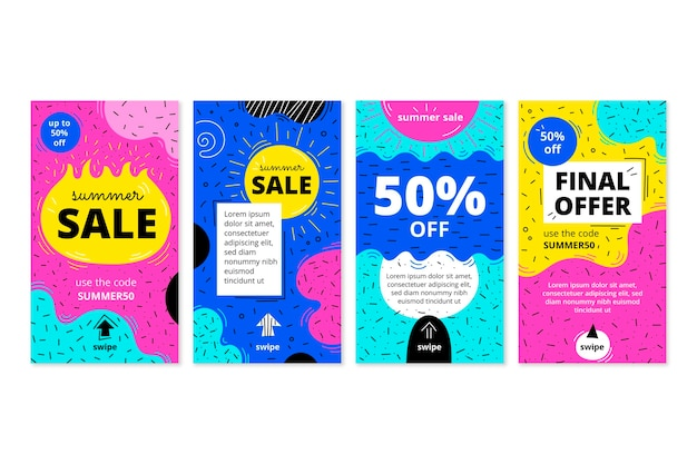 Hand drawn instagram sale stories collection with photo