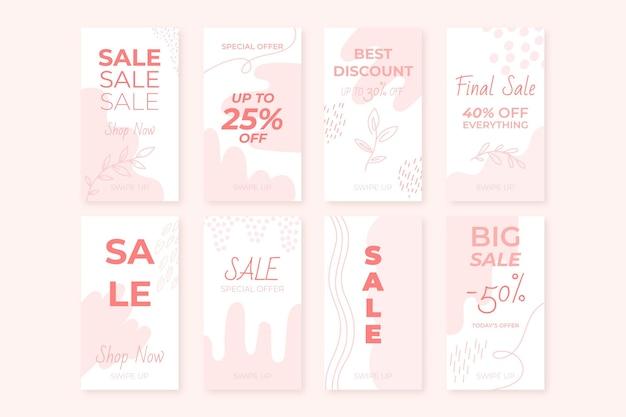 Hand drawn instagram sale stories collection