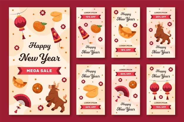 Hand-drawn instagram stories collection for chinese new year