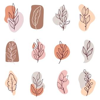 最小限の花の葉、花、枝で手描きのインスタグラムストーリーのハイライト。落書きスケッチスタイル。