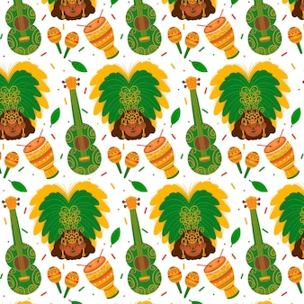 Hand drawn instrument brazilian carnival pattern