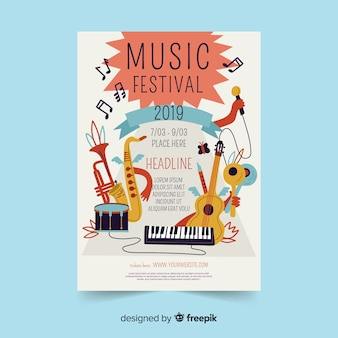 Hand drawn instruments music festival poster