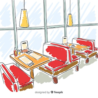 Hand drawn interior design of elegant restaurant