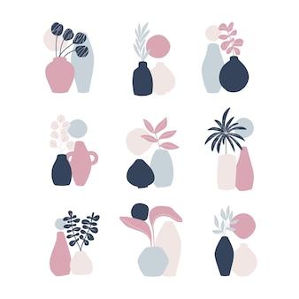 手描きのインテリアデザイン要素。植物の葉、白い背景で隔離の花瓶。スカンジナビアのミニマリズムスタイル。
