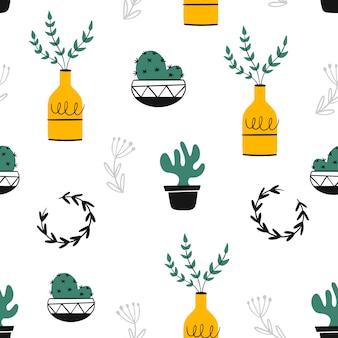 손으로 그린 인테리어 식물.
