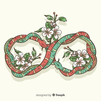 Hand drawn interlaced snakes with flowers background
