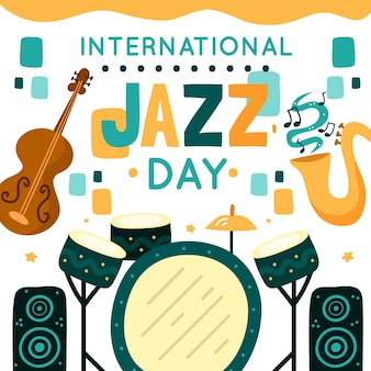 Нарисованная от руки тема международного джазового дня