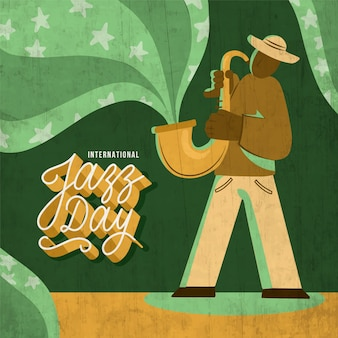 Нарисованный от руки международный день джаза