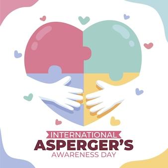 Нарисованный от руки международный день осведомленности аспергера