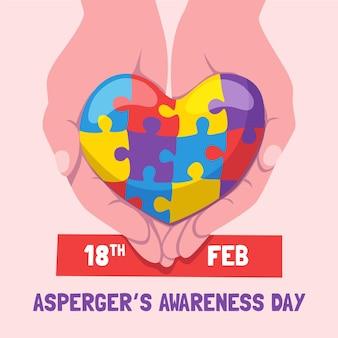 Giornata di sensibilizzazione internazionale di asperger disegnata a mano