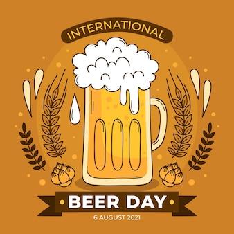손으로 그린 국제 맥주 하루 그림