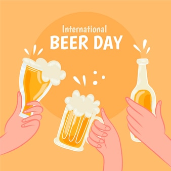 Hand drawn international beer day illustration