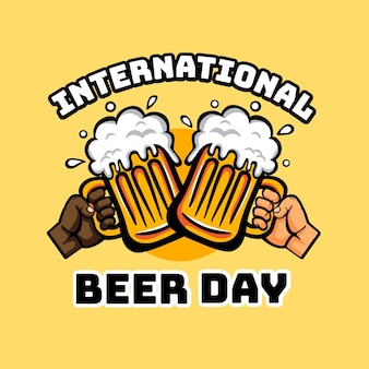 Hand drawn international beer day message