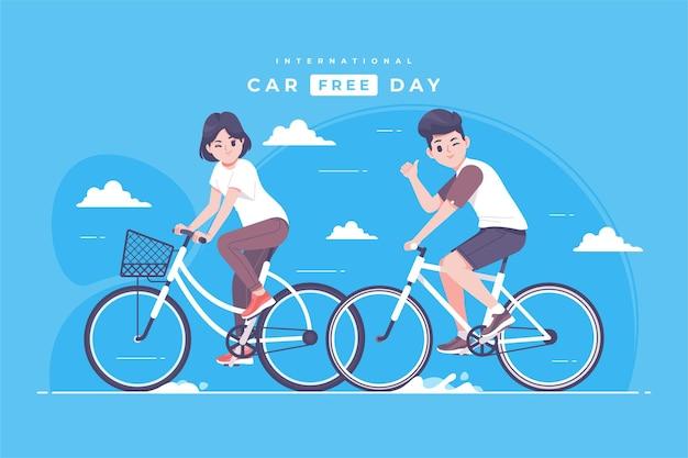 Hand drawn international car free day illustration