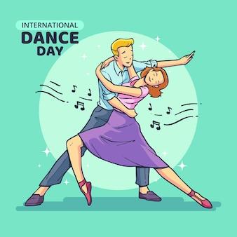 Нарисованная рукой иллюстрация международного дня танца