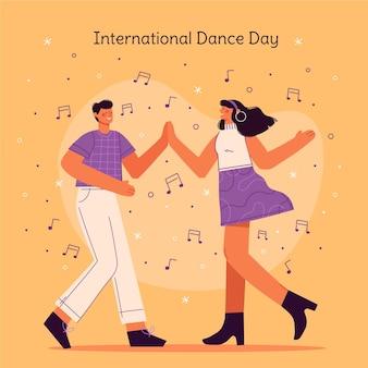 手描きの国際ダンスデーのイラスト