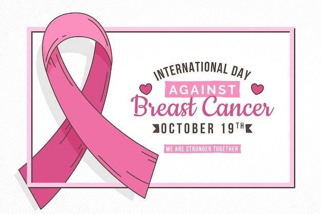 Hand drawn international day against breast cancer background