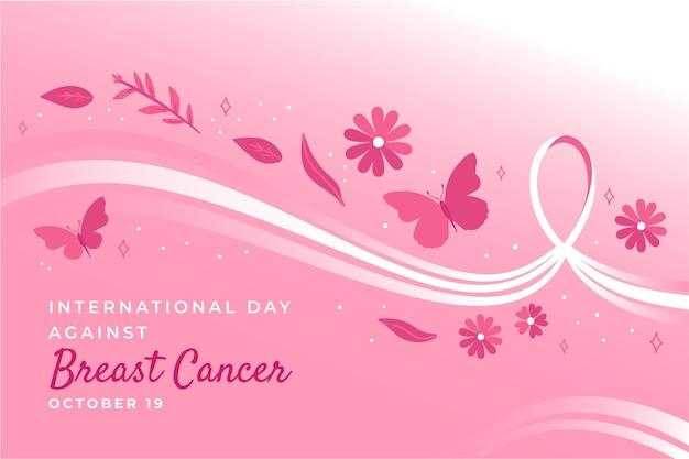 유방암 배경에 대해 손으로 그린 국제의 날