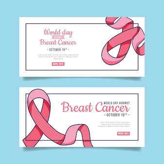 Hand drawn international day against breast cancer horizontal banners set